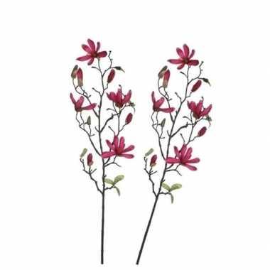Hobby x fuchsia roze magnolia/beverboom kunsttakken kunstplant