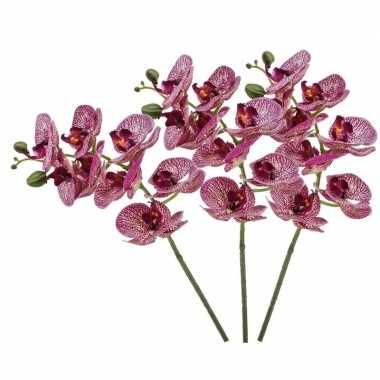 Hobby x fuchsia roze phaleanopsis/vlinderorchidee kunstbloemen