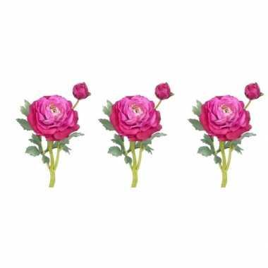Hobby x fuchsia roze ranonkel kunstbloemen binnen