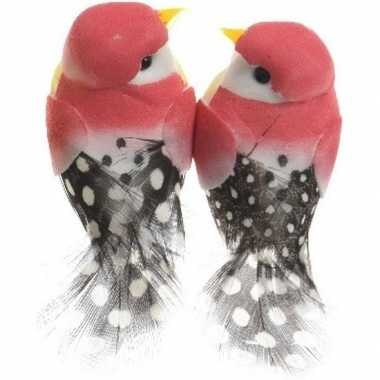 Hobby x fuchsia roze vogels decoraties draad