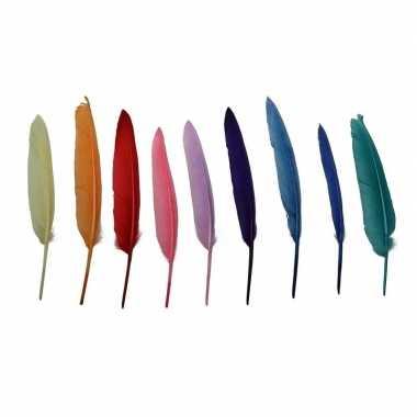 Hobby x gekleurde decoratie veren/veertjes