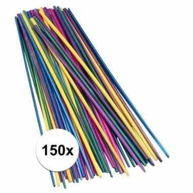 Hobby x gekleurde knutselhoutjes stro