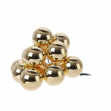 Hobby x gouden mini kerstballen kerststukje stekers glans