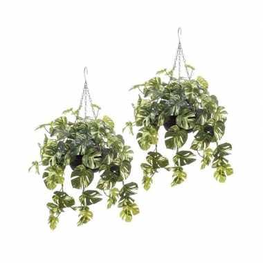Hobby x groen/gele monstera kunstplanten hangende pot