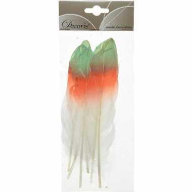 Hobby x groen/oranje/witte sierveren decoraties