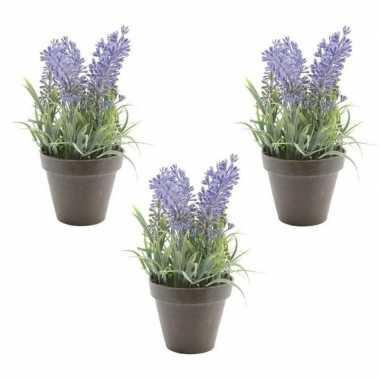 Hobby x groen/paarse lavendula/lavendel kunstplanten zwarte pot