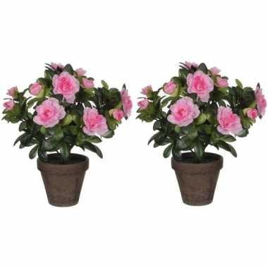 Hobby x groene azalea kunstplanten roze bloemen pot