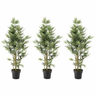 Hobby x groene bamboe kunstplanten zwarte plastic pot 10155904