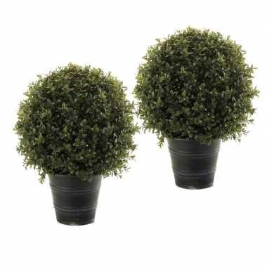 Hobby x groene buxus/bol struiken kunstplant zwarte pot