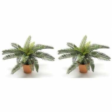 Hobby x groene cycas palm/vredespalm kunstplanten pot
