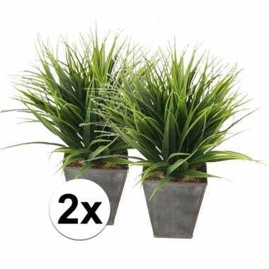 Hobby x groene grasplant kunstplant zinken pot