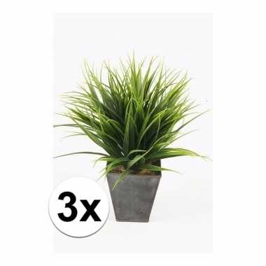 Hobby x groene grasplant kunstplanten zinken pot