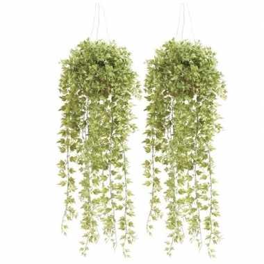 Hobby x groene hedera/klimop kunstplanten hangende pot