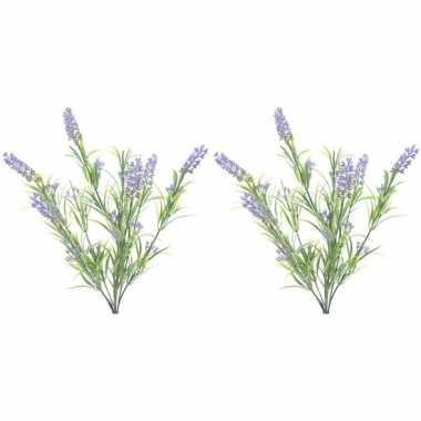 Hobby x groene/lilapaarse lavandula/lavendel kunstplanten bosje
