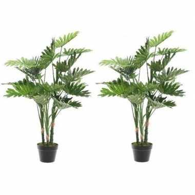 Hobby x groene monstera/gatenplant kunstplant zwarte pot
