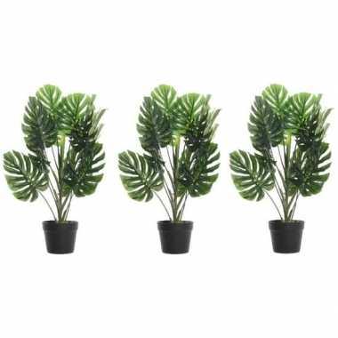 Hobby x groene monstera/gatenplanten kunstplanten zwarte pot