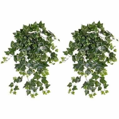 Hobby x groene/witte hedera helix/klimop kunstplant buiten