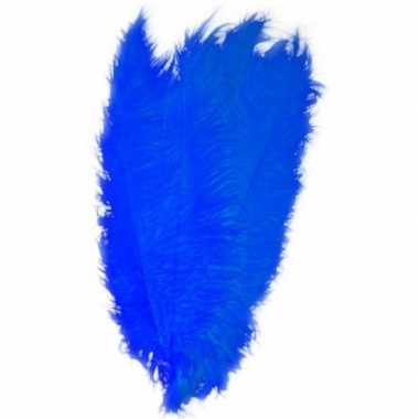 Hobby x grote decoratie veren/struisvogelveren blauw