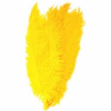 Hobby x grote decoratie veren/struisvogelveren geel