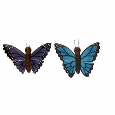 Hobby x houten dieren magneten blauwe paarse vlinder