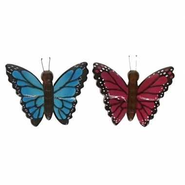 Hobby x houten dieren magneten blauwe roze vlinder