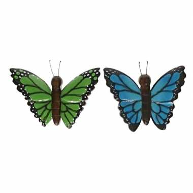 Hobby x houten dieren magneten groene blauwe vlinder