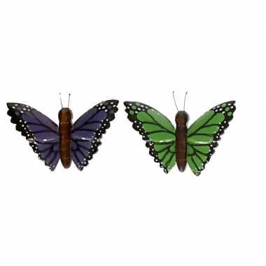 Hobby x houten dieren magneten groene paarse vlinder