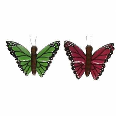 Hobby x houten dieren magneten groene roze vlinder