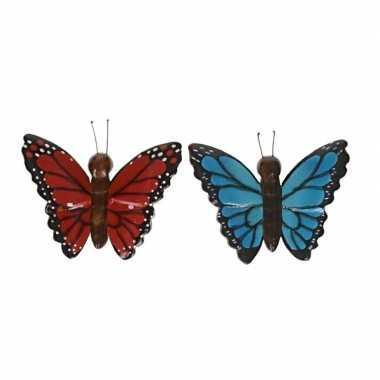 Hobby x houten magneten vlinders rood blauw