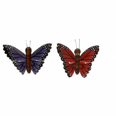 Hobby x houten magneten vlinders rood paars
