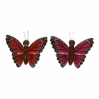Hobby x houten magneten vlinders rood roze