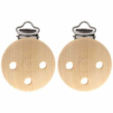 Hobby x houten speenkoord/wagenspanner clip naturel mm