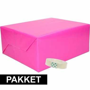 Hobby x inpakpapier fuchsia/roze rolletje plakband