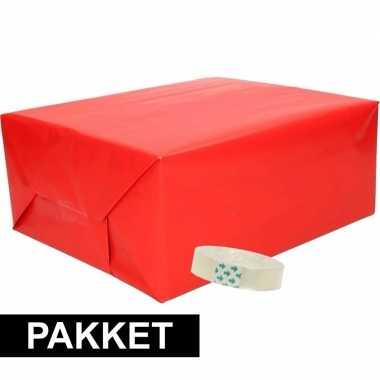 Hobby x inpakpapier rood rolletje plakband