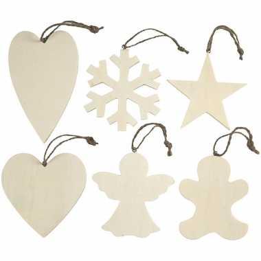 Hobby x kersthangers houten ornamenten kerstboomversiering