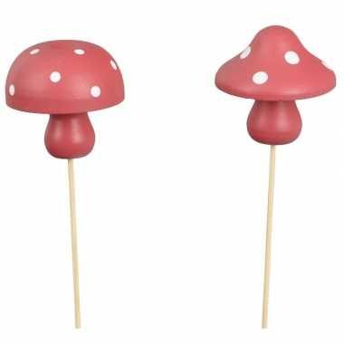Hobby x kerststukje onderdelen houten paddenstoelen stekers