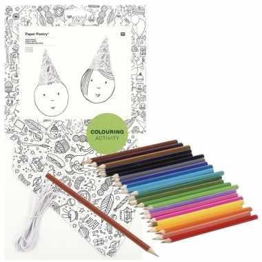 Hobby x knutsel papieren feesthoedjes om te kleuren incl. potloden
