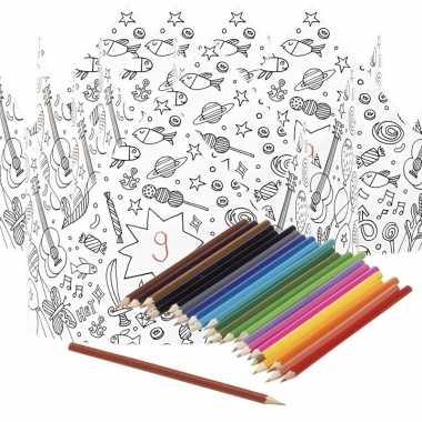 Hobby x knutsel papieren kroontjes om te kleuren incl. potloden