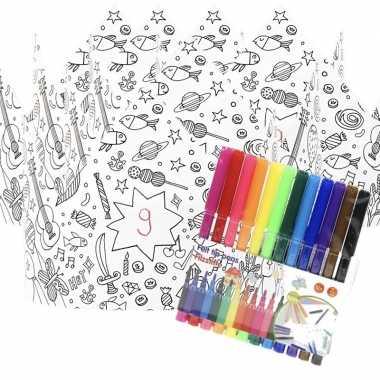 Hobby x knutsel papieren kroontjes om te kleuren incl. stiften