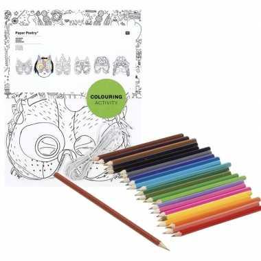 Hobby x knutsel papieren maskers om te kleuren incl. potloden