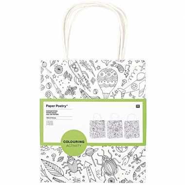 Hobby x knutsel papieren tassen/tasjes om te kleuren kindere