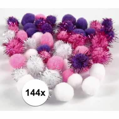 Hobby x knutsel pompons mm wit/paars