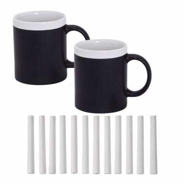 Hobby x krijt koffie/thee mokken wit pakje krijt