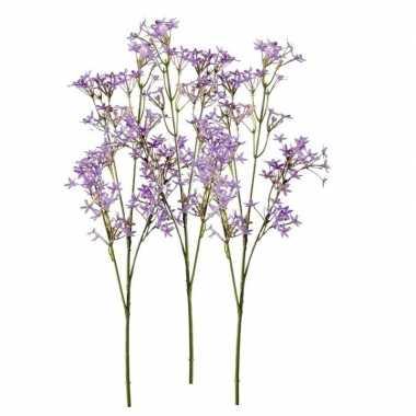 Hobby x kunstbloemen kroonkruid takken paars