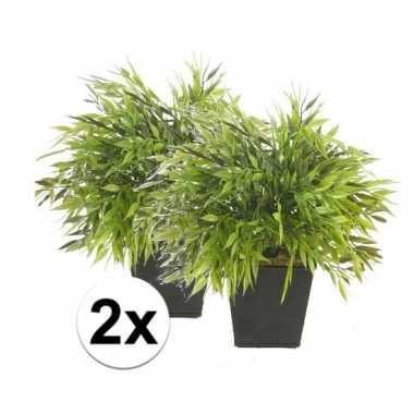 Hobby x kunstplant bamboe mix groen pot