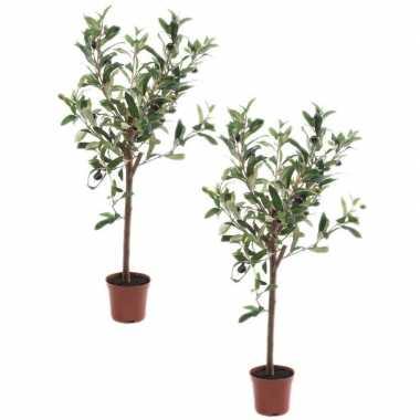 Hobby x kunstplant groene olijfboom betonlook pot