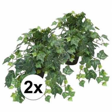 Hobby x kunstplant klimop groen zwarte pot