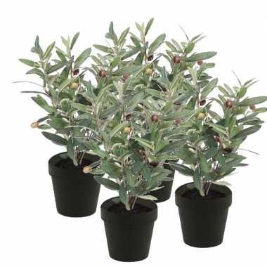 Hobby x kunstplanten olijfboompje groen zwarte pot