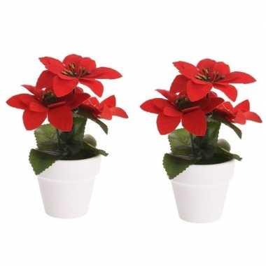 Hobby x kunstplanten poinsettia rood pot