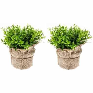 Hobby x kunstplanten tuinkers kruiden groen jute pot